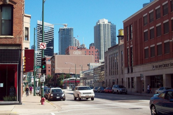 Chicago street with skyscapers in background