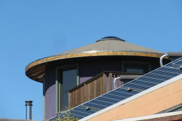 Solar panels on a roof in Oakland