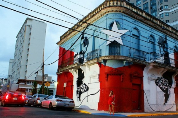 Building with star mural in Puerto Rico