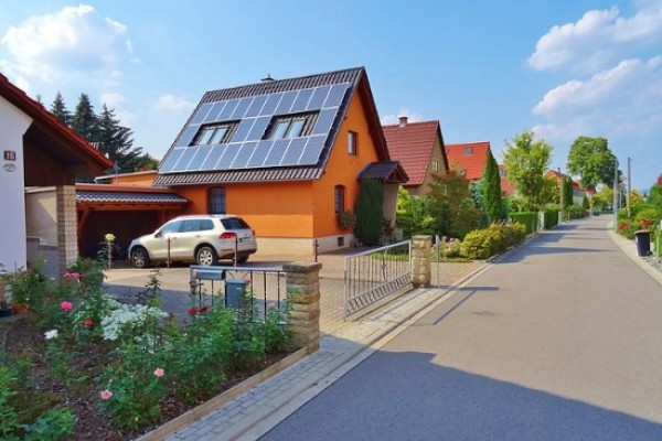 Home with solar panels on the roof