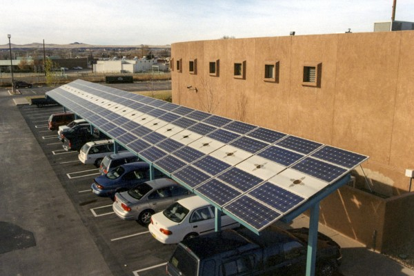 Solar carport at Indian Pueblo Cultural Center in Albuquerque, New Mexico
