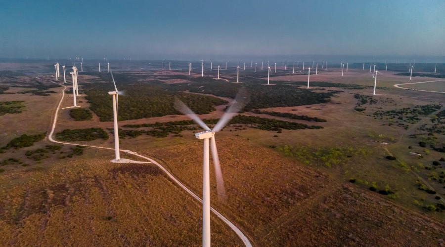 Wind turbines in central Texas